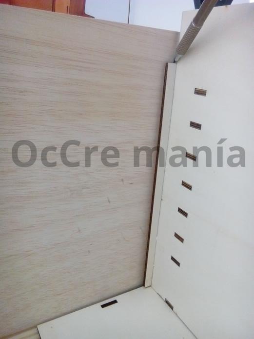Ajustar plancha madera posterior taller OcCre